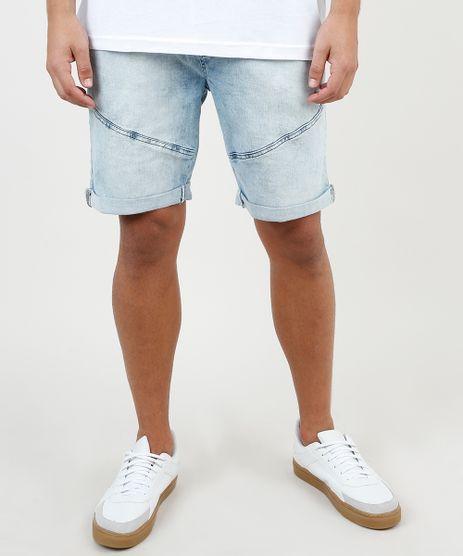 Bermuda-Jeans-Masculina-Slim-com-Recortes-e-Barra-Dobrada-Azul-Claro-9860115-Azul_Claro_1