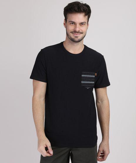 Camiseta-Masculina-com-Bolso-Listrado-Manga-Curta-Gola-Careca-Preta-9888735-Preto_1
