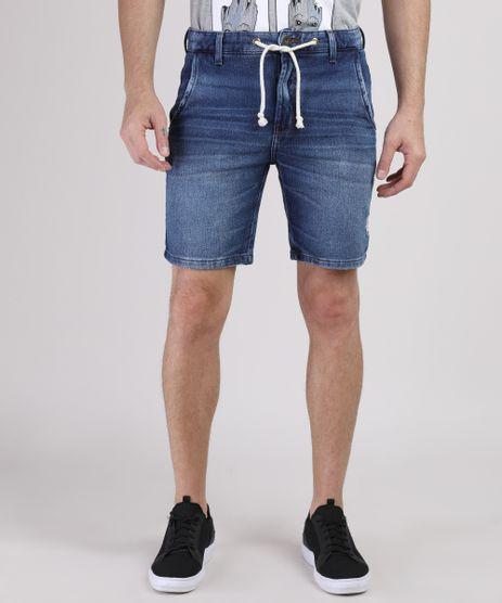 Bermuda-Jeans-de-Moletom-Masculina-Slim-com-Cordao-Azul-Medio-9941836-Azul_Medio_1