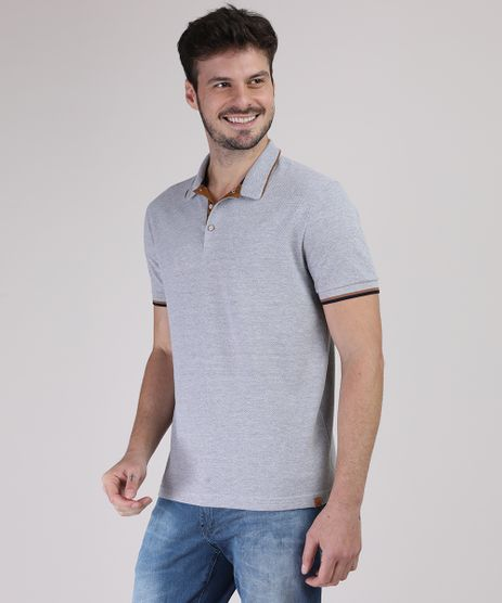 Polo-de-Piquet-Masculina-Comfort-com-Suede-Manga-Curta-Cinza-Mescla-9869038-Cinza_Mescla_1
