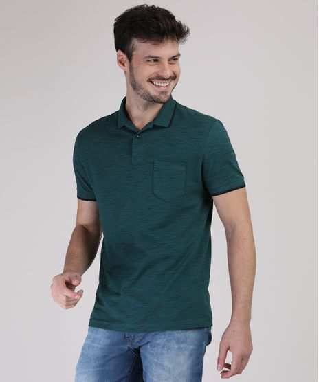 Polo-Masculina-Basica-Mescla-com-Bolso-Manga-Curta-Verde-Escuro-Mescla-9942886-Verde_Escuro_Mescla_1