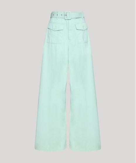 Calca-de-Sarja-Feminina-Mindset-Pantalona-Cintura-Super-Alta-com-Bolsos-e-Cinto-Verde-Claro-9949388-Verde_Claro_1