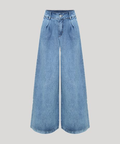 Calca-Jeans-Feminina-Mindset-Pantalona-Cintura-Super-Alta-com-Pregas-Azul-Claro-9950463-Azul_Claro_1