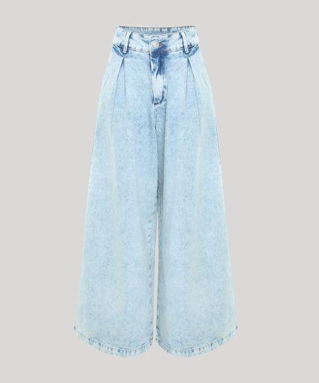 Calca-Jeans-Feminina-Mindset-Pantalona-Cintura-Super-Alta-Marmorizada-com-Pregas-Azul-Claro-9950462-Azul_Claro_1