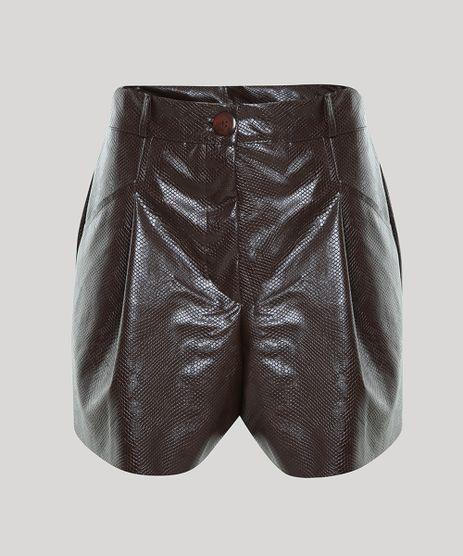 Short-Feminino-Mindset-Cintura-Super-Alta-Texturizado-Cobra-com-Pregas-Marrom-9949572-Marrom_1