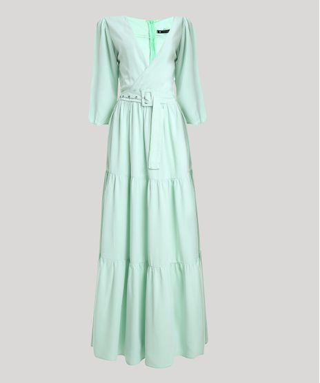 Vestido-Feminino-Mindset-Longo-com-Transpasse-e-Cinto-Manga-7-8-Verde-Claro-9949387-Verde_Claro_1