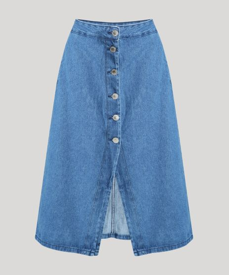 Saia-Jeans-Feminina-Midi-com-Botoes-e-Fenda-Azul-Medio-9944958-Azul_Medio_1