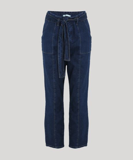 Calca-Jeans-Feminina-Skinny-Clochard-Cintura-Super-Alta-com-Faixa-para-Amarrar-Azul-Escuro-9945838-Azul_Escuro_1