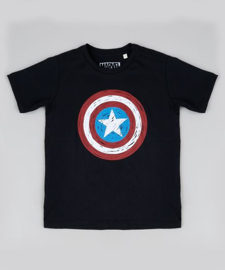 Camiseta-Infantil-Capitao-America-Manga-Curta-Gola-Careca-Preta-9946505-Preto_1