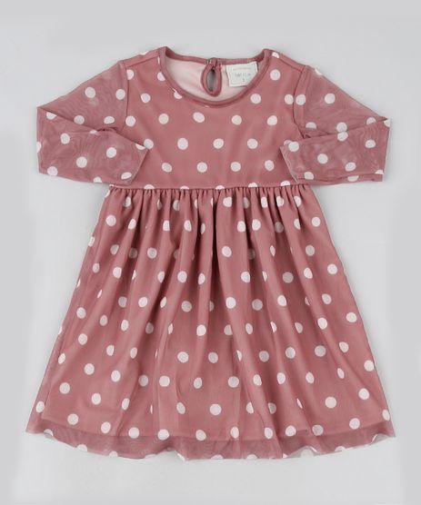 Vestido-Infantil-em-Tule-Estampado-de-Poa-Manga-Longa-Rose-9946881-Rose_1