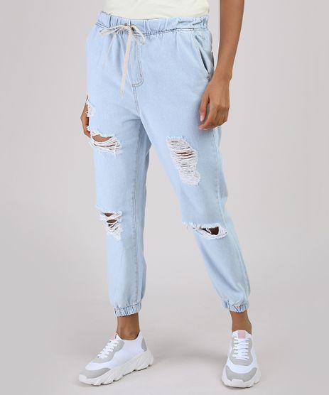 Calca-Jeans-Feminina-Jogger-Cintura-Alta-Destroyed-com-Cordao-Azul-Claro-9950571-Azul_Claro_1