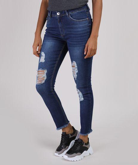 Calca-Jeans-Feminina-Cigarrete-Cintura-Alta-Destroyed-com-Barra-Desfiada-Azul-Escuro-9944950-Azul_Escuro_1