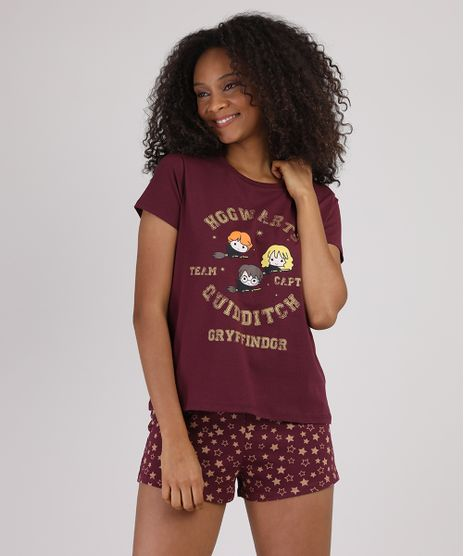 Pijama-Feminino-Harry-Potter-Grifinoria-Manga-Curta-Vinho-9928552-Vinho_1