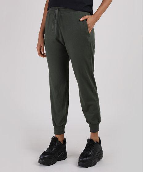Calca-Feminina-Basica-Jogger-Cintura-Alta-com-Cordao-e-Bolsos-Verde-Militar-9941599-Verde_Militar_1