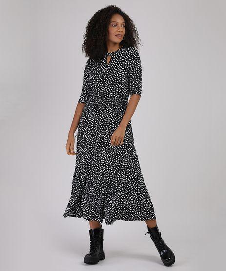 Vestido-Feminino-Midi-Choker-Estampado-de-Poa-com-Recorte-e-Amarracao-Manga-3-4-Preto-9940713-Preto_1