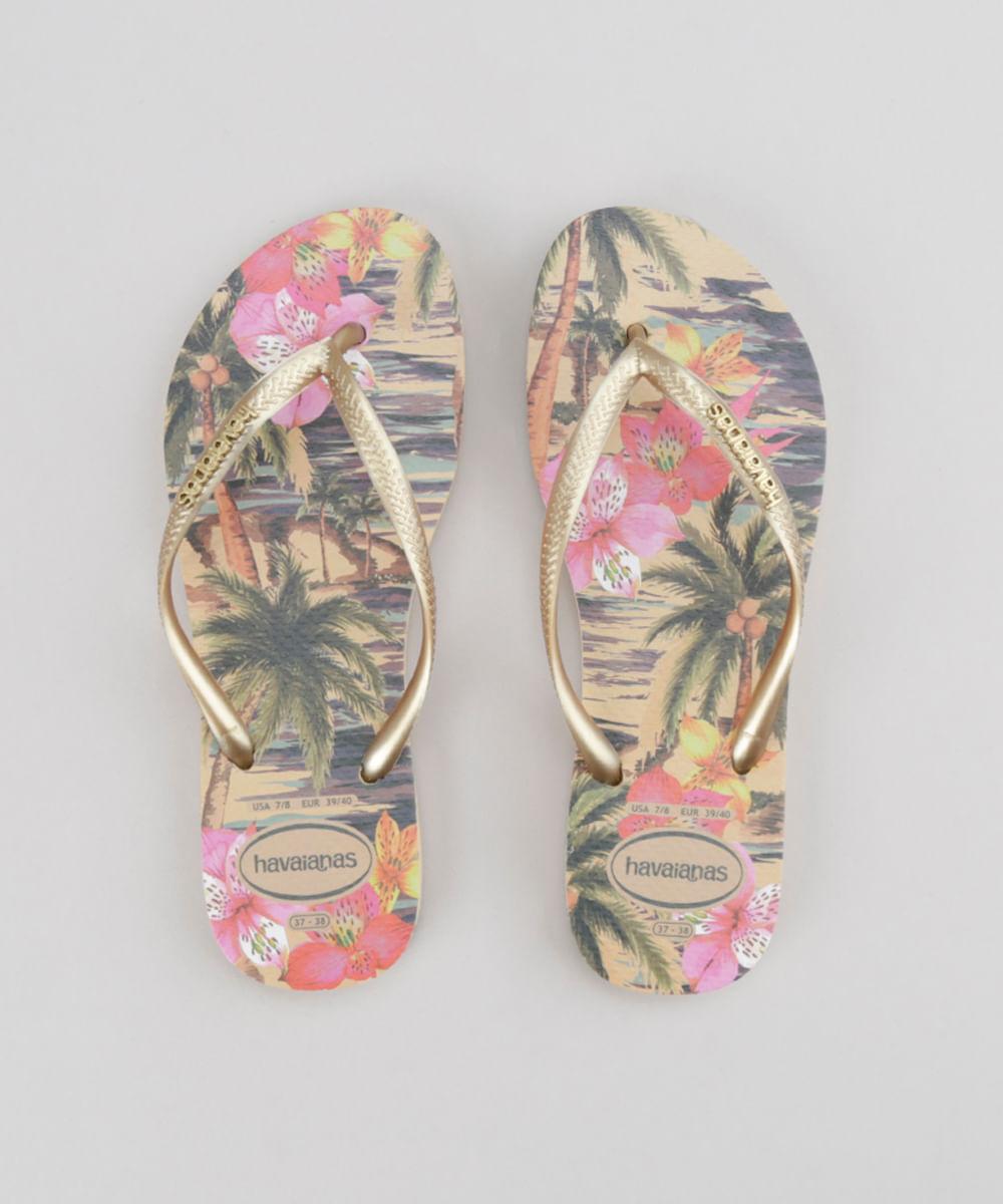 a0b08a40a ... Chinelo-Havaianas-Estampado-Floral-Bege-8726590-Bege 1