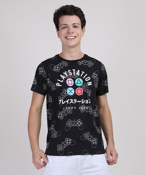 Camiseta-Juvenil-PlayStation-Manga-Curta-Preta-9899371-Preto_1