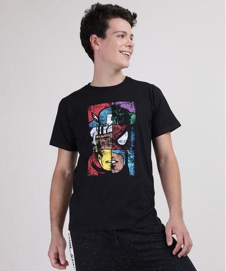 Camiseta-Juvenil-Os-Vingadores-Manga-Curta-Gola-Careca-Preta-9730857-Preto_1