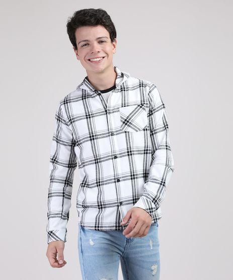 Camisa-Juvenil-em-Flanela-Estampada-Xadrez-com-Capuz-Manga-Longa-Branca-9807684-Branco_1