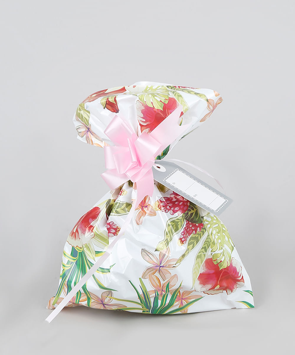 Kit de Embalagem para Presente Floral 89x120CM Off White