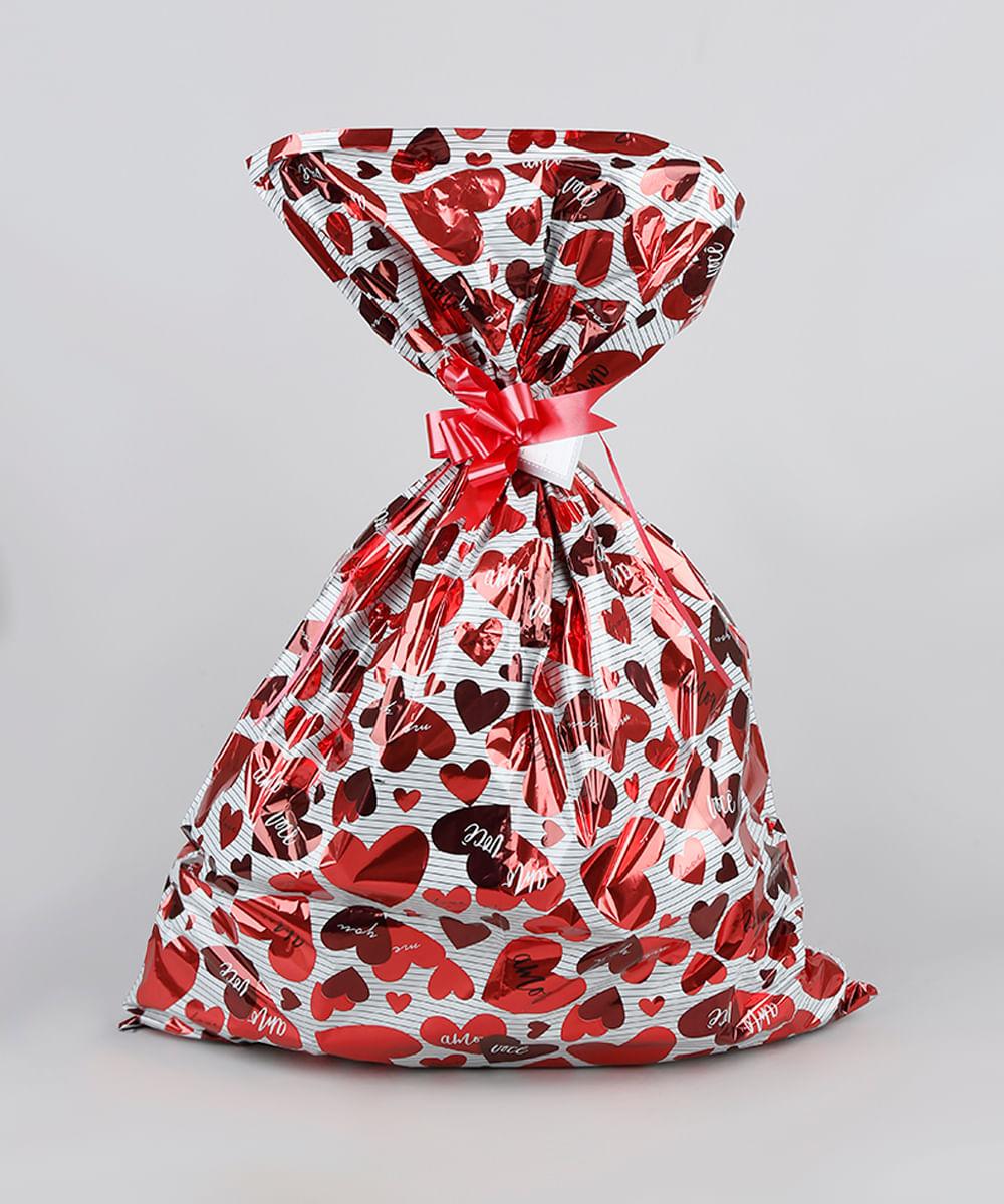 Kit de Embalagem para Presente Corações 89x120CM Vermelho