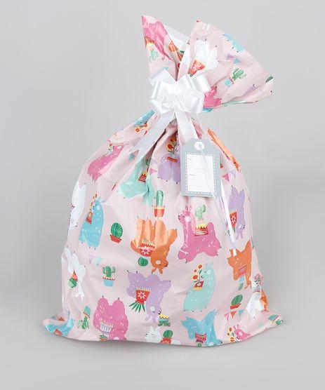 Kit-de-Embalagem-para-Presente-Lhamas-35x54CM-Rosa-9950672-Rosa_1