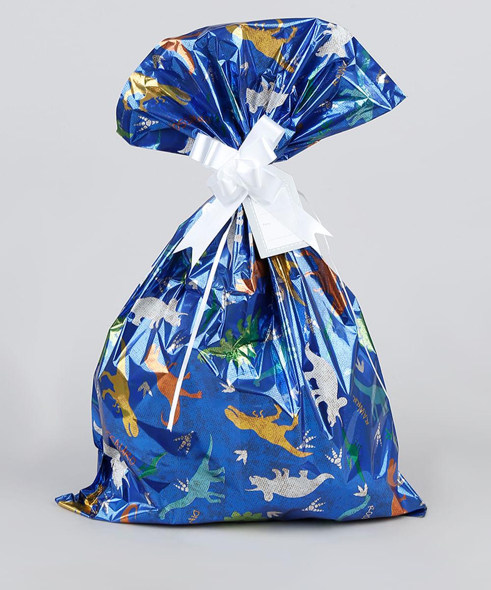 Kit de Embalagem para Presente Dinossauros 20x29CM Azul