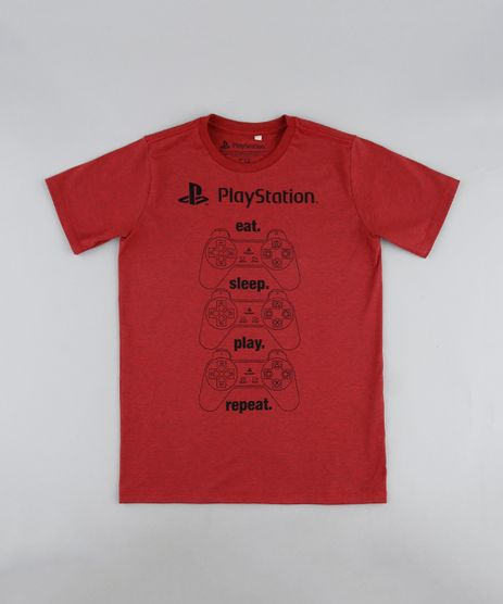 Camiseta-Juvenil-Playstation-Manga-Curta-Vermelha-9942950-Vermelho_1