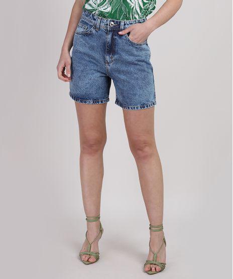 Bermuda-Jeans-Feminina-Mom-Cintura-Alta-com-Bolsos-Azul-Medio-9946464-Azul_Medio_1