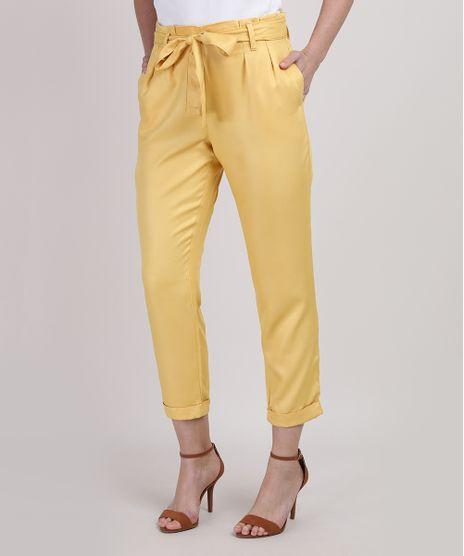 Calca-Feminina-Clochard-Cintura-Super-Alta-Alfaiatada-com-Faixa-para-Amarrar-Amarela-9950888-Amarelo_1