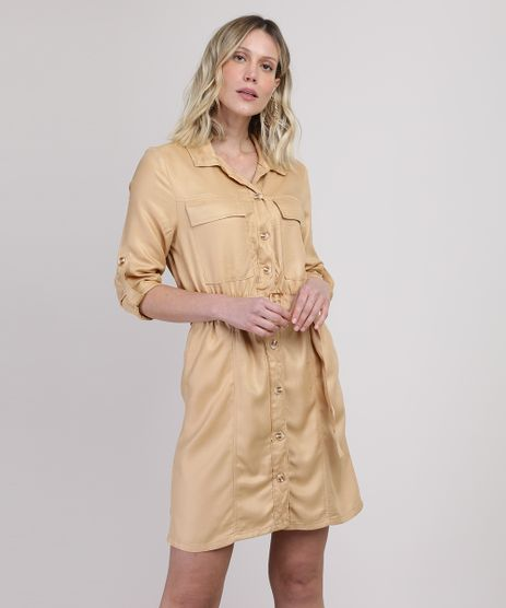 Vestido-Chemise-Feminino-Curto-com-Bolsos-e-Cinto-Manga-Longa-Amarelo-9946820-Amarelo_1