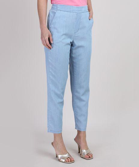 Calca-Jeans-Feminina-Cintura-Alta-Alfaiatada-com-Bolsos-Azul-Claro-9950923-Azul_Claro_1