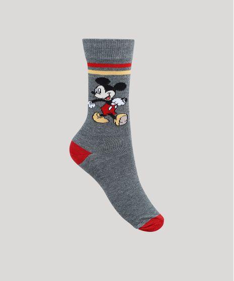 Meia-Feminina-Cano-Alto-Mickey-Mouse-Cinza-Mescla-Escuro-9949287-Cinza_Mescla_Escuro_1