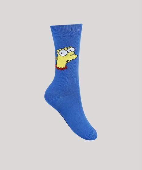Meia-Masculina-Cano-Alto-Marge-Simpson-Azul-9944795-Azul_1