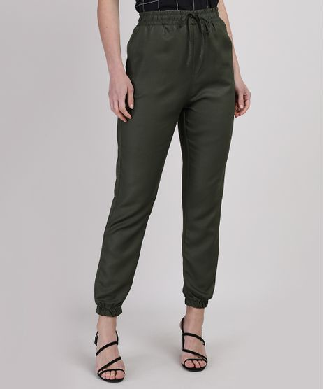 Calca-Feminina-Jogger-Cintura-Super-Alta-com-Amarracao-Verde-Escuro-9950894-Verde_Escuro_1