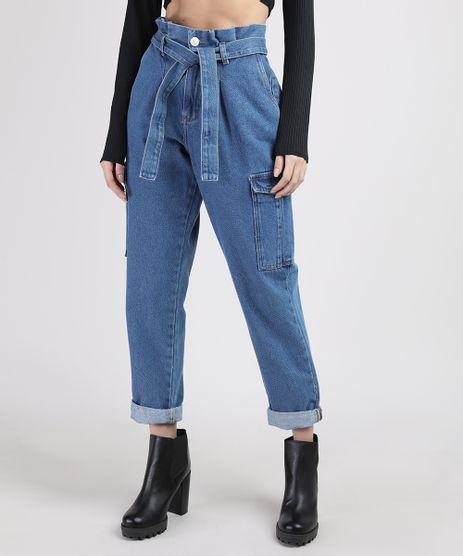 Calca-Jeans-Feminina-Mom-Clochard-Cintura-Super-Alta-Cargo-com-Faixa-para-Amarrar-Azul-Medio-9944952-Azul_Medio_1