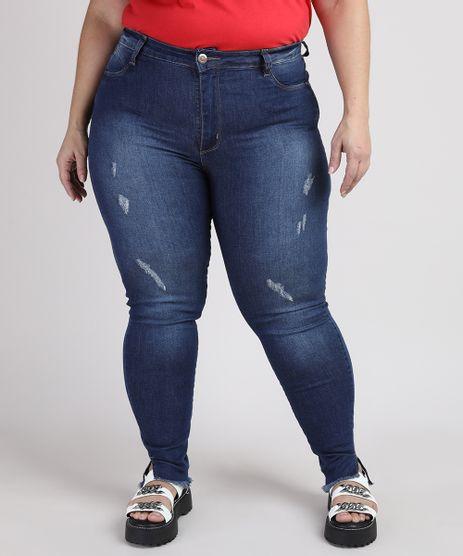 Calca-Jeans-Feminina-Plus-Size-Sawary-Super-Skinny-Push-Up-Cintura-Alta-com-Puidos-e-Barra-Desfiada-Azul-Escuro-9950591-Azul_Escuro_1