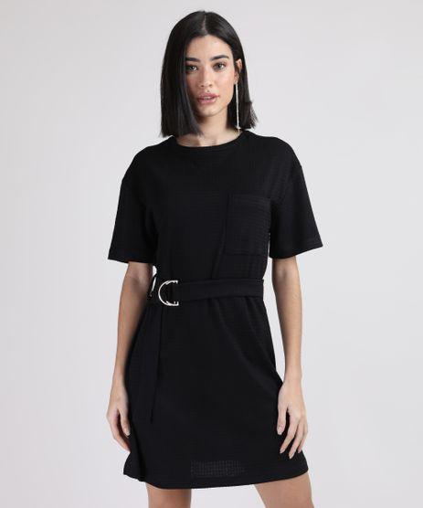 Vestido-de-Jacquard-Feminino-Curto-com-Bolso-e-Cinto-Manga-Curta-Preto-9945745-Preto_1