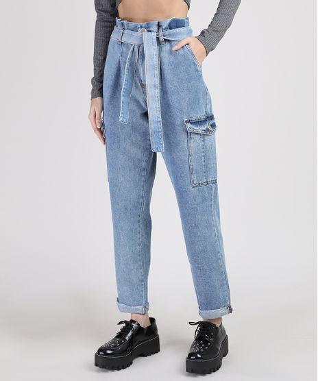 Calca-Jeans-Feminina-Mom-Clochard-Cintura-Super-Alta-Cargo-com-Faixa-para-Amarrar-Azul-Claro-9944951-Azul_Claro_1
