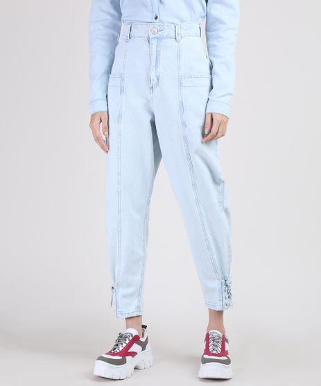 Calca-Jeans-Feminina-Baggy-Cintura-Super-Alta-com-Lace-Up-Azul-Claro-9950706-Azul_Claro_1