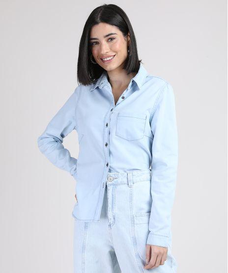 Camisa-Jeans-Feminina-com-Bolso-Manga-Longa-Azul-Claro-9945829-Azul_Claro_1