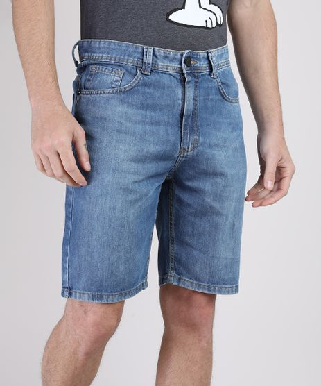 Bermuda-Jeans-Masculina-Slim-com-Bolsos-Azul-Medio-9943724-Azul_Medio_1