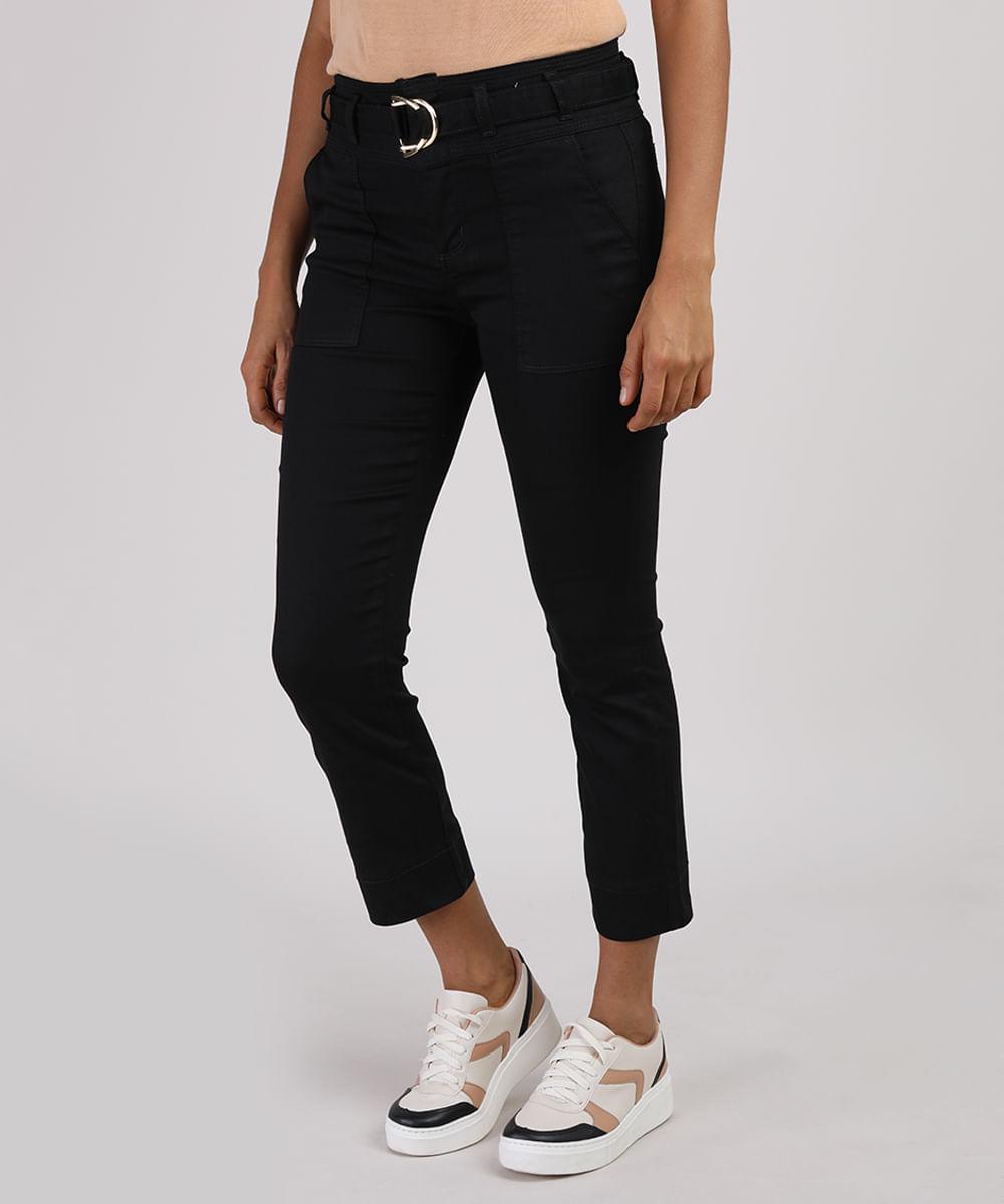 Calça de Sarja Feminina Sawary Cropped Cintura Alta com Cinto Preta