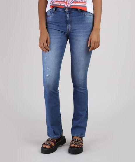 Calca-Jeans-Feminina-Sawary-Flare-Cintura-Alta-com-Puidos-Azul-Medio-9950598-Azul_Medio_1