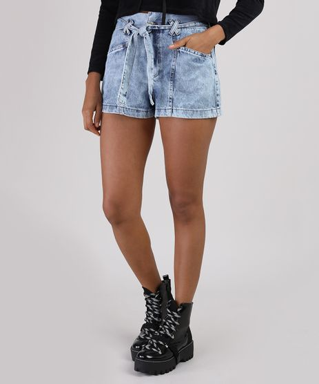 Short-Jeans-Feminino-Cintura-Super-Alta-Marmorizado-com-Faixa-para-Amarrar-Azul-Claro-9944953-Azul_Claro_1