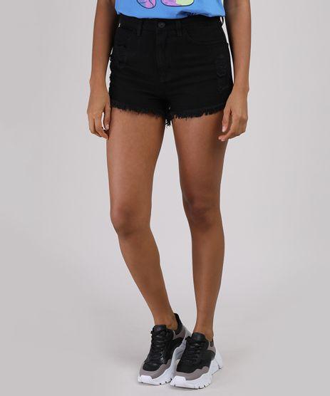 Short-Jeans-Feminino-Cintura-Alta-Destroyed-com-Barra-Desfiada-Preto-9946457-Preto_1