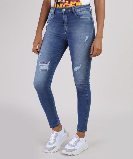 Calca-Jeans-Feminina-Sawary-Super-Skinny-Lipo-Push-Up-Cintura-Alta-com-Rasgos-Azul-Medio-9950592-Azul_Medio_1