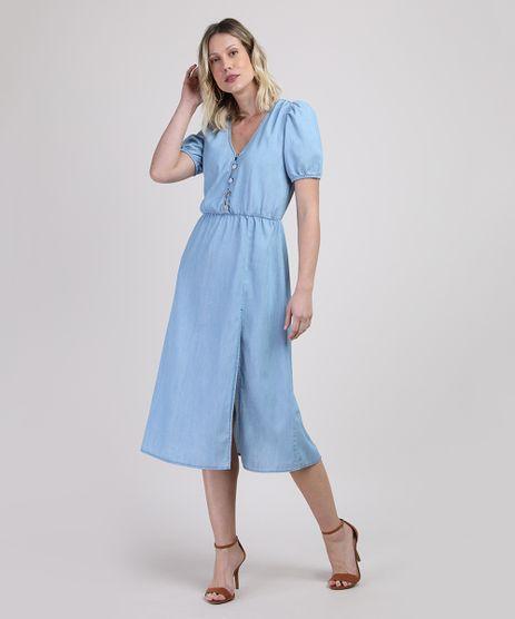 Vestido-Jeans-Feminino-Midi-com-Fenda-e-Botoes-Manga-Bufante-Azul-Claro-9944956-Azul_Claro_1