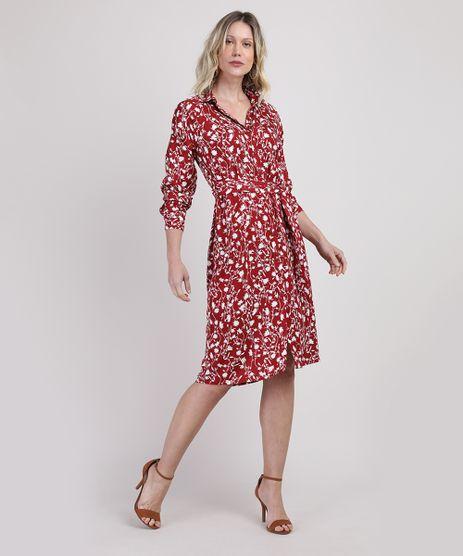 Vestido-Chemise-Feminino-Midi-Estampado-Floral-Manga-Longa-Vermelho-Escuro-9942688-Vermelho_Escuro_1