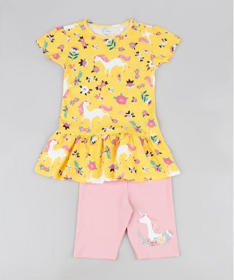 Conjunto-Infantil-de-Blusa-Estampada-Unicornios-Manga-Curta-Amarela---Bermuda-Rosa-9942991-Rosa_1
